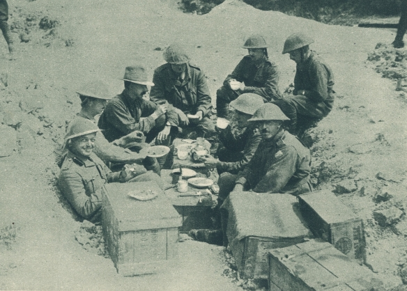 Officers enjoying their rations